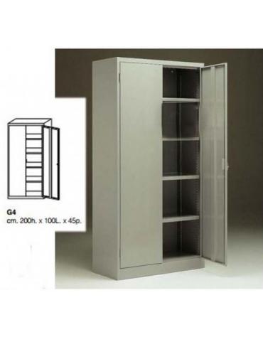 Armadio porta attrezzi di lamiera verniciata ad ante battenti, cm 100x45x200h