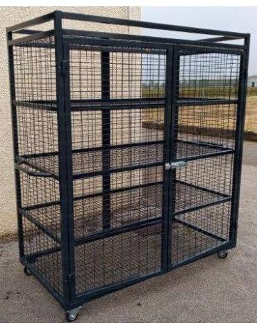 Armadio porta attrezzi con pareti e 4 ripiani in rete metallica, cm 150x75x165h
