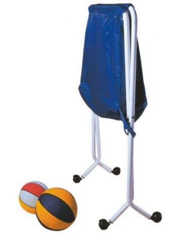 Carrello porta palloni pieghevole, struttura in alluminio mobile su ruote, sacco in nylon di contenimento palloni