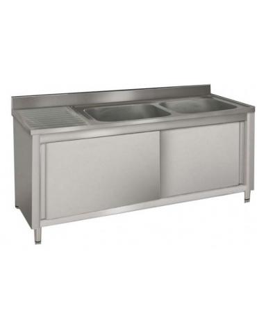 Lavatoio inox 2 vasche + gocciolatoio sinistro cm 150x70x85/90h