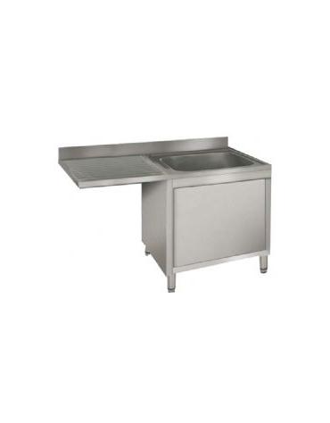 Lavatoio armadiato inox 1 vasca+gocc.sinistro cm 140x60x85h