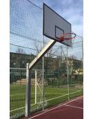 Impianto basket monotubolare in acciaio zincato, tabelloni in legno, sbalzo cm.165.