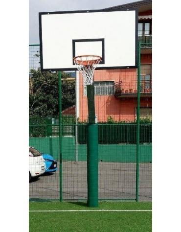 Impianto basket monotubolare con tabelloni in resina, sbalzo cm.165.