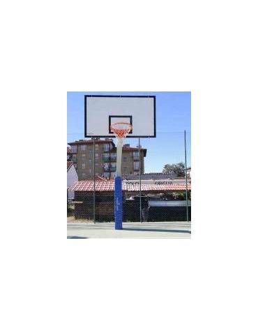Impianto basket monotubolare con tabelloni in legno, sbalzo cm.165.