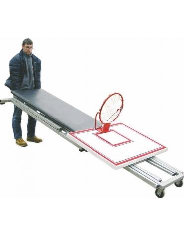 Impianto basket, pieghevole, altezza canestro regolabile da 210 a 305 cm., tabellone 110x90 cm.