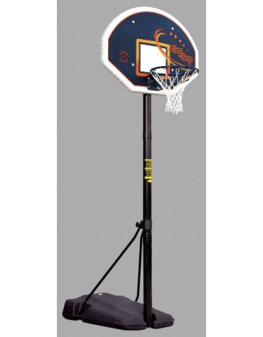 Mezzo impianto minibasket a norme UNI-EN 1270, con zavorra riempibile, altezza regolabile da 120 a 261 cm.