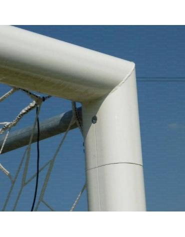 Coppia porte calcio 732x244 cm., in alluminio, fisse con bussole, reggirete a gomito, a norma UNI EN 748