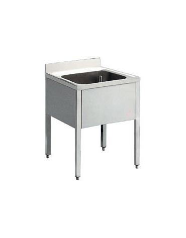 Lavatoio inox 1 vasca senza ripiano Dimensioni cm.70x60x85/90h