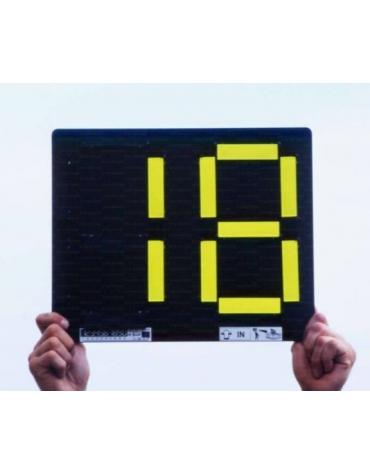 Segnalatore cambio giocatori bifacciale, con 2 cifre componibili manualmente da 0 a 9, colore giallo e arancio.