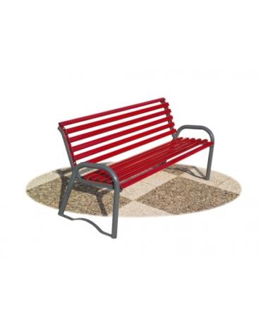 Panchina per parco in tubo d'acciaio colore ROSSO RUBINO / GRIGIO MICACEO cm 158x57x72h