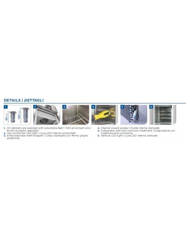 Armadio refrigerato GN 2/1 in acciaio inox AISi 304, refrigerazione ventilata, temperatura -18/-22°C - cm 140X82X205h