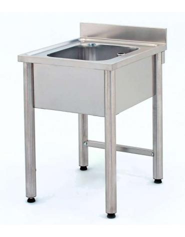 Lavatoio inox gambe tonde 1 vasca senza ripiano Cm.60x60x85/90h