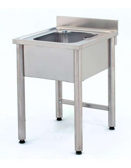 Lavatoio inox gambe tonde 1 vasca senza ripiano Cm.80x70x85/90h