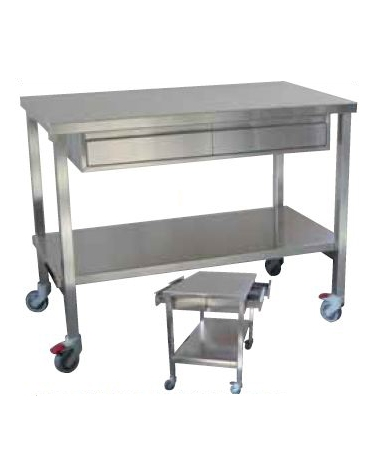 Tavolo per sala operatoria utilizzabile da ambo i lati, con due cassetti (47 x 30 x 12) - cm 120x70x95h