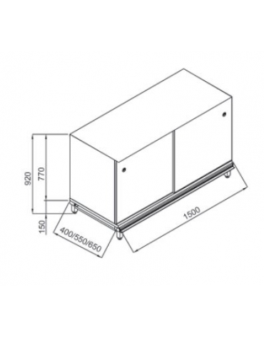 Retrobanco neutro senza top da cm. 150x40x92h