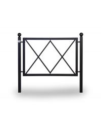 Barriera parapedonale in acciaio zincato e verniciato con decorativi interni. Da tassellare - cm 117x5x108H