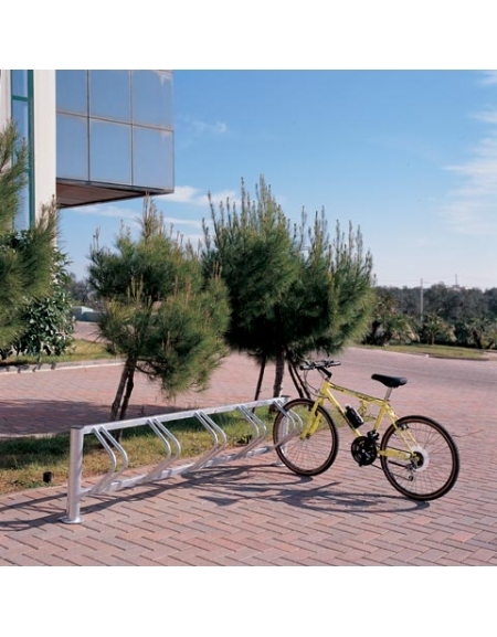 Portabici rastrelliera per bicicletta da terra a cinque posti in metallo acciaio zincato - cm 220x30x55h