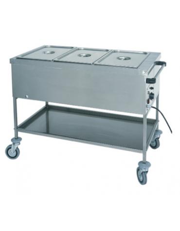 Carrello termico in acciaio inox con resistenza a secco 1x1/1 GN (senza acqua) cm 56x65x85h