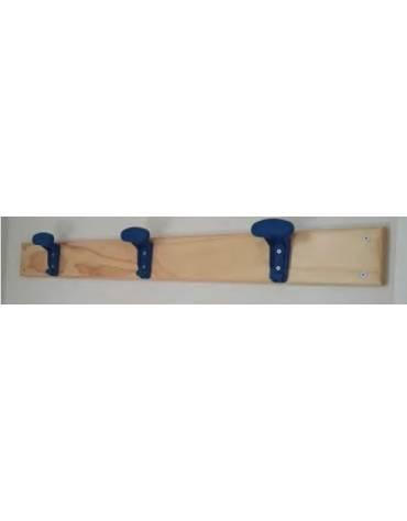 Attaccapanni a parete in legno verniciato al naturale, lunghezza 1 m con 3 grucce.