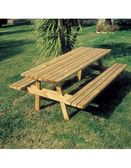 Tavolo con panche ribaltabili in legno da esterno per for Tavolo legno esterno