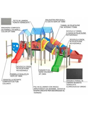 Maxi Villaggio attrezzato, 3 torri e 3 scivoli di cui 1 a tunnel - cm 857x668x360h