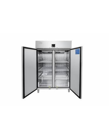 Armadio congelatore inox AISI 304 - GN 2/1 - 2 porte - 1300 litri - capacità di esercizio -22°C/-17°C - mm 1314×845×2130h