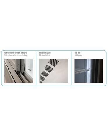 Frigo vetrina ventilato per bevande con 2 porte scorrevoli - capacità 1057 Lt - temperatura 0°C/+10°C - mm 1330x700x2023h
