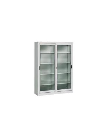 Armadio metallico ad ante scorrevoli in vetro cm 120x45x200h arredamento ospedaliero - Armadio con porte scorrevoli ...