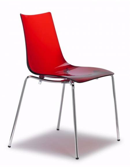 Sedia in acciaio e metacrilato rossa