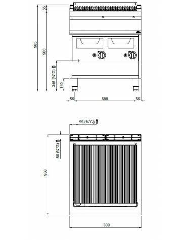 Griglia ad acqua a gas su armadio aperto cm 70x70x85h