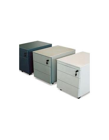 Cassettiera Metallica ufficio su piedi 42x58x70h 2 cassetti + 1 cassettone