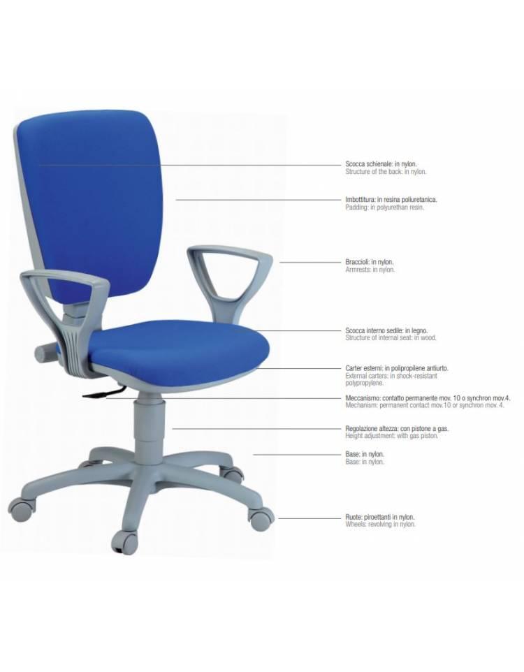 Sedia ufficio dattilo ergonomica alta con ruote - Conforme ...