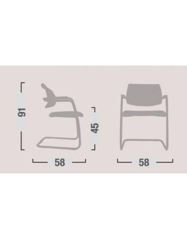 Sedia dattilo ergonomica bassa con braccioli