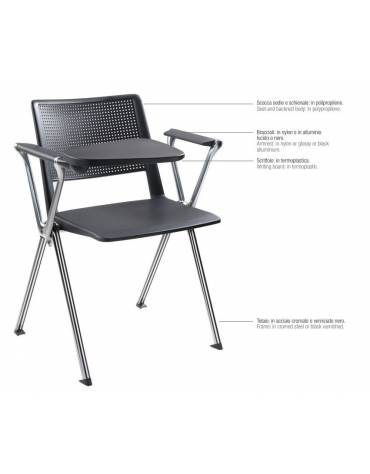 Sedia fissa con braccioli - Struttura metallizzata