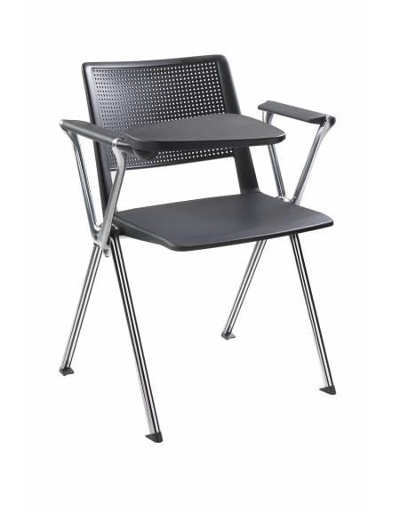 Sedia fissa con braccioli e scrittoio - Struttura metallizzata