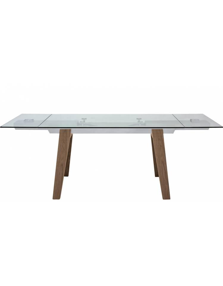 Tavolo Con Struttura In Alluminio Gambe In Legno Piano Allungabile In Cristallo Cm 160 40x90x75h Dinaforniture It