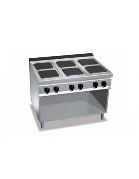 Cucina Elettrica Professionale 6 Piastre Quadre Su Mobile Aperto Cm 120x90x90h