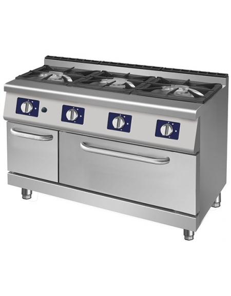 Cucina a gas 3 fuochi in linea su forno a gas-cm.105x70x85h ...