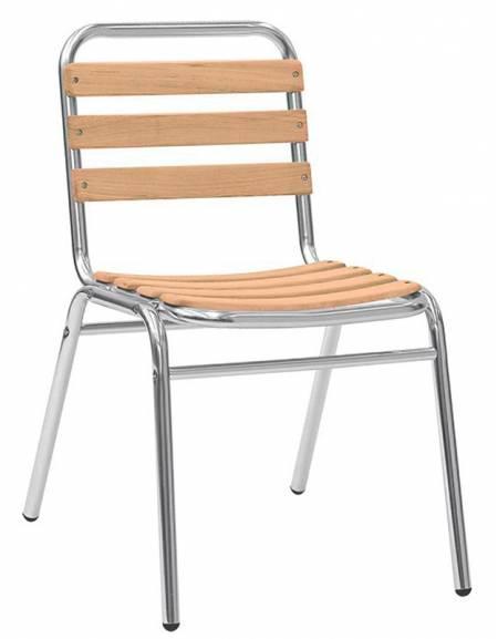 Seduta in alluminio anodizzato e legno di rovere Bellagio