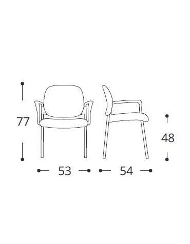 Sedia fissa di attesaconferenza monoscocca in plastica indeformabile - con braccioli e scrittoio - vari colori - cm 53x54x77h€
