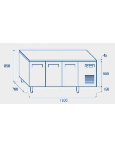 Tavolo refrigerato 3 porte, in acciaio inox AISi 304, refrigerazione ventilata - cm 179.5x70x86h
