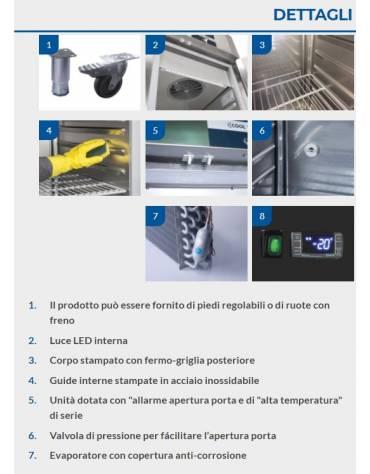 Armadio Refrigerato GN 2/1 monoblocco in Acciaio Inox a bassa temperatura con 2 porte cm 142x80x203h