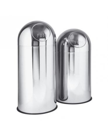 Gettacarte tondo in acciaio inox, Lt 45 Push inox - Ø cm 30x88