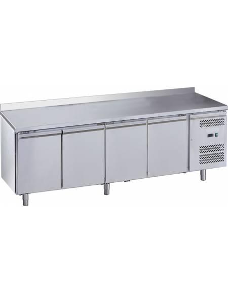 Tavolo refrigerato congelatore con alzatina 4 sportelli cm. 223x70x85h