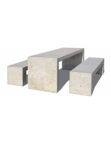 Set pic nic in cemento con tavolo cm 200x80x80h e due panche cm 200x50x50h in colore bianco travertino