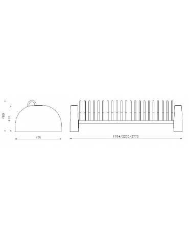 Portabici 3 posti realizzato completamente in acciaio zincato e verniciato, fianchi in cemento - cm 159,4 x 39x42,9h