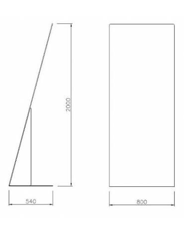 Leggio in lamiera di acciaio piegata, zincato e verniciato per esposizione - cm 180x100x180h