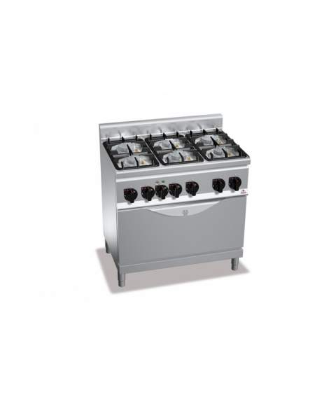 Cucina a gas 6 fuochi su tuttoforno a gas media potenza - Cucina 6 fuochi ...
