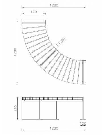 Panchina angolare con schienale, in legno di pregio e acciaio zincato e verniciato - cm 128x47x45h