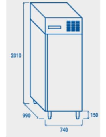 Armadio refrigerato per pasticceria, in acciaio inox, refrigerazione statica - cm 97,5x74x202,5h
